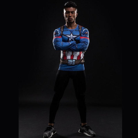 Captain America  long sleeved compression Shirt