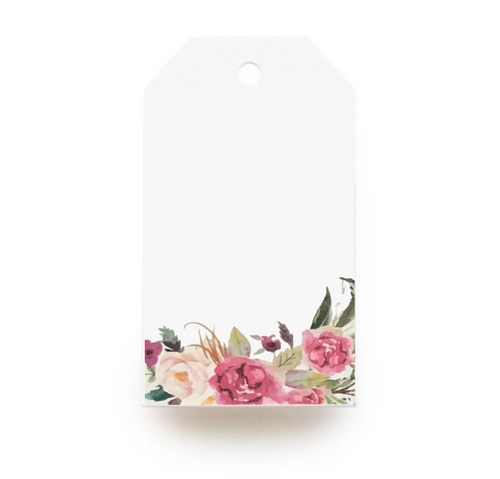 Floral Gift Tag - Pink & Green