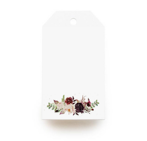 Floral Gift Tag - Maroon