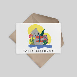 Hippo Happy Birthday Greeting Card - Stationery in Lagos, Nigeria, Hybrid Pencil