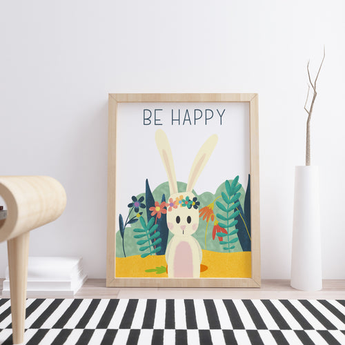 Be Happy Bunny Wall Print available in Lagos, Nigeria as a decor item or gift for a nursery