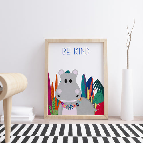Nursery Wall Art available for children's room in Lagos, Nigeria. A great gift item with a cute hippo in the wild with an option to personalize further