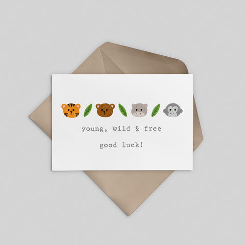 Young, Wild & Free! Good Luck Greeting Card - Stationery in Lagos, Nigeria, Hybrid Pencil