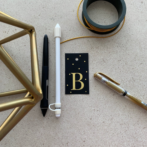 Gold Letter B Gift Tags x10, Gift Tags - Nigeria, Stationery, Hybrid Pencil