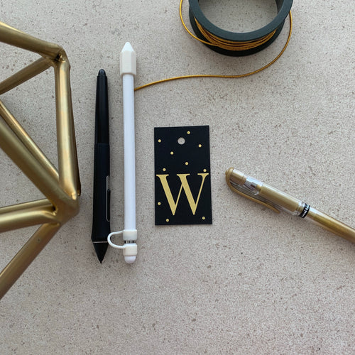 Gold Letter W Gift Tags x10, Gift Tags - Nigeria, Stationery, Hybrid Pencil