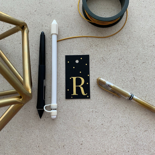 Gold Letter R Gift Tags x10, Gift Tags - Nigeria, Stationery, Hybrid Pencil