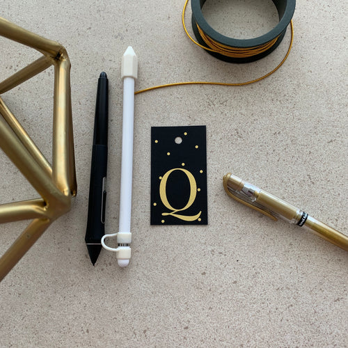 Gold Letter Q Gift Tags x10, Gift Tags - Nigeria, Stationery, Hybrid Pencil