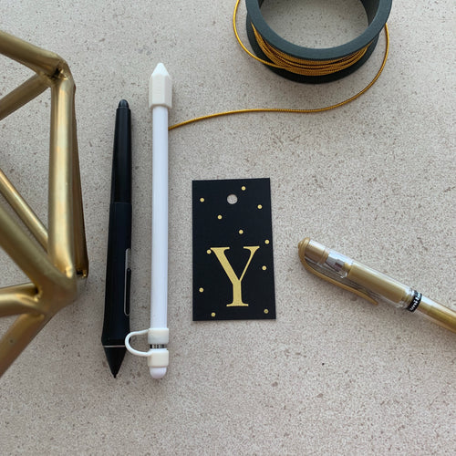 Gold Letter Y Gift Tags x10, Gift Tags - Nigeria, Stationery, Hybrid Pencil