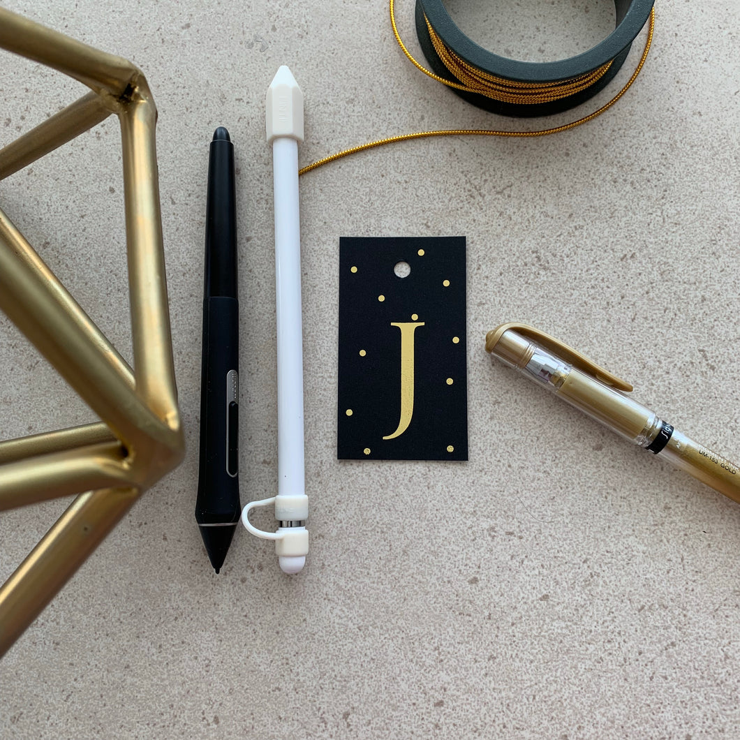Gold Letter J Gift Tags x10, Gift Tags - Nigeria, Stationery, Hybrid Pencil