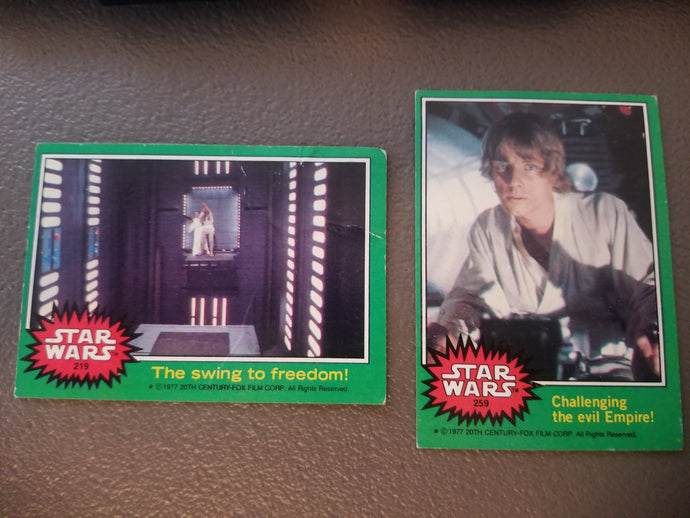 1977 Star Wars TOPPS Series 4 Green: #219 and 259