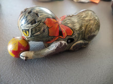 Antique 1940's Marx Cat Chasing Yellow Ball Tin Litho Windup Toy