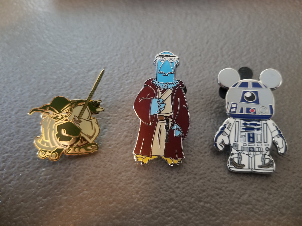 Disney Trading Pin: Yoda, Obi-Wan Muppet, and R2D2 Mickey