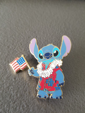 Disney - Mickey's All American Pin Festival - Patriotic Stitch - American Flag Trading pin