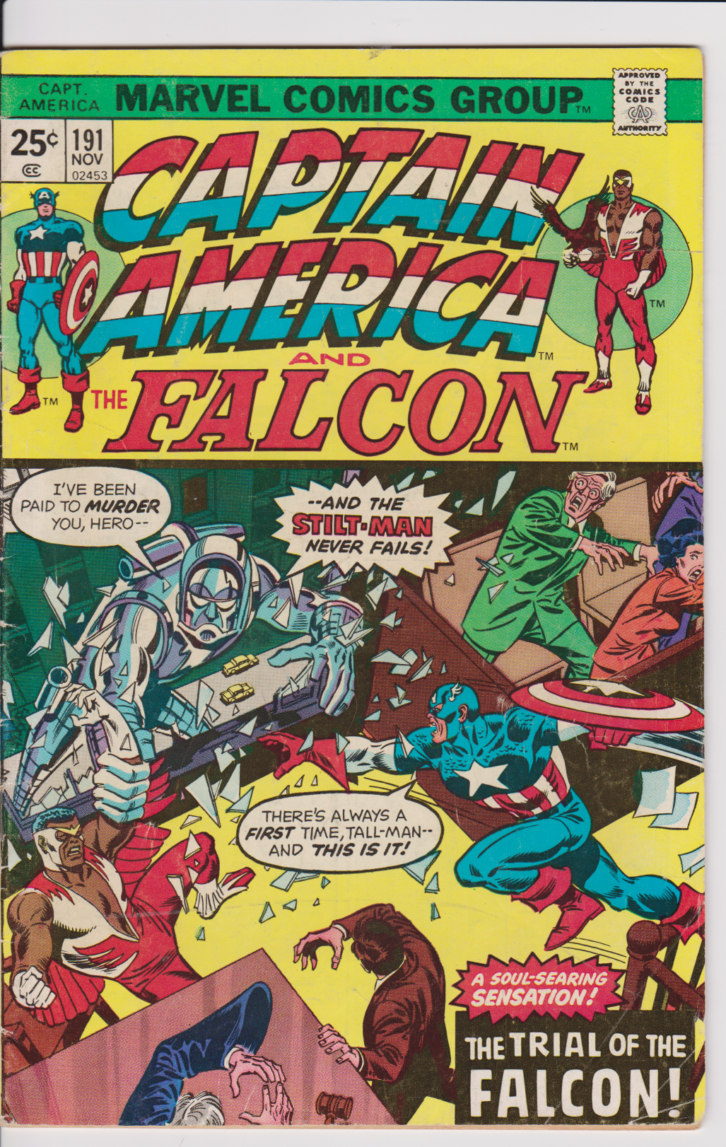Captain America and The Falcon #191 November 1975 Marvel Comics Book Stilt-man