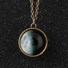 Unique Universe Glass Glow in the Dark Pendant Necklace Glass Luminous Galaxy Moon Necklace Jewelry
