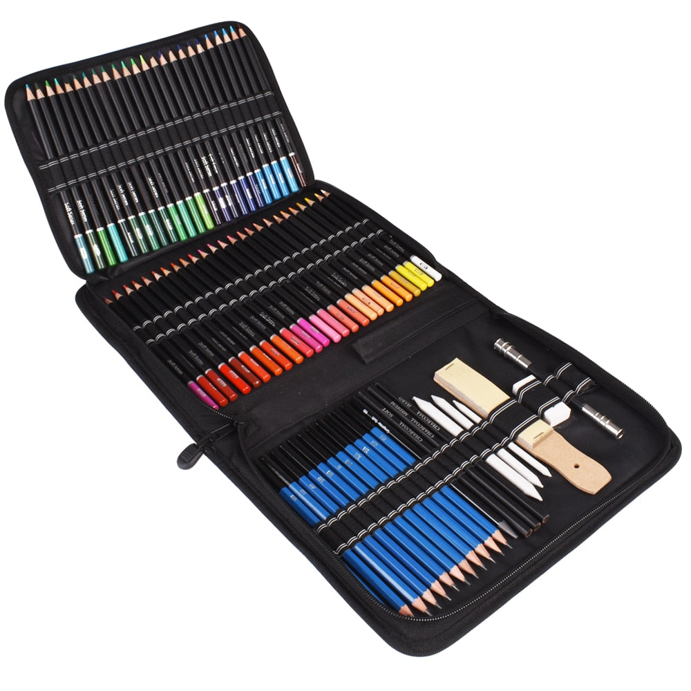 95PCS Oil Colored Pencils Set Sketch Soft Core Professional Art Supplies for Adults Artist Drawing Coloring with Portable Case
