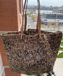 Raffia Two-Tone Shoppers
