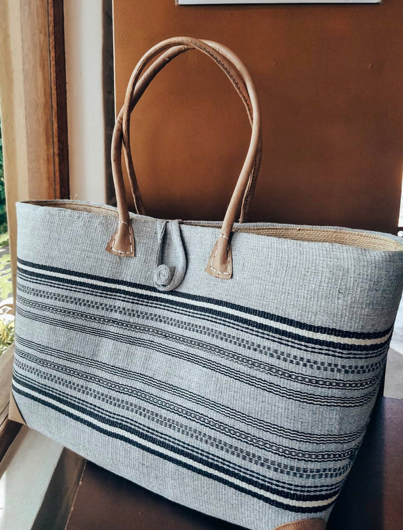 Grey Nautical Sisal Tote