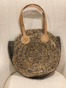 Two Tone Raffia and Leather Handbags