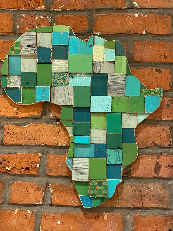 Large Africa Bloc Art- Greens