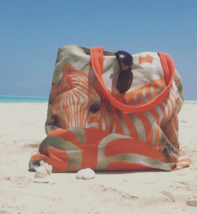 Orange Zebra Beach Bags