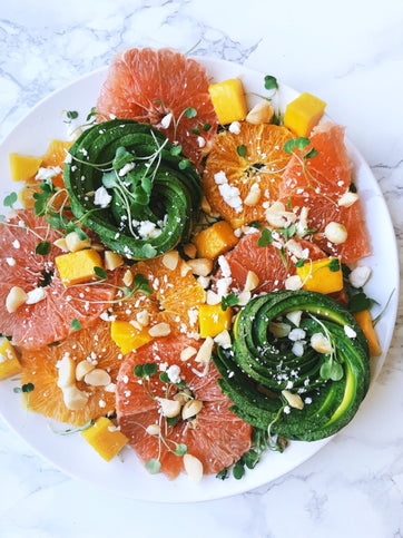 Grapefruit Avocado Salad with Mango and Macadamia Nuts