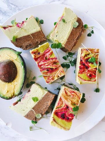 Raw Avocado Dragonfruit Cheesecake Bars