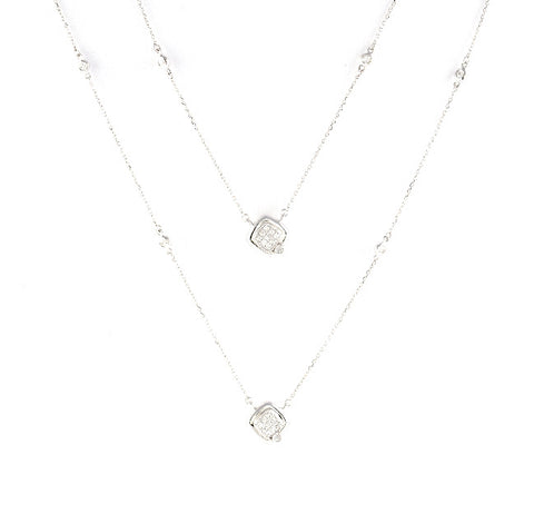 Long double chain square diamond necklace