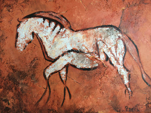 "Unframed Matted Print ""White Horse"""