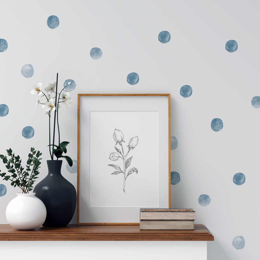 Ronds Aquarelle bleu||Blue watercolour circles