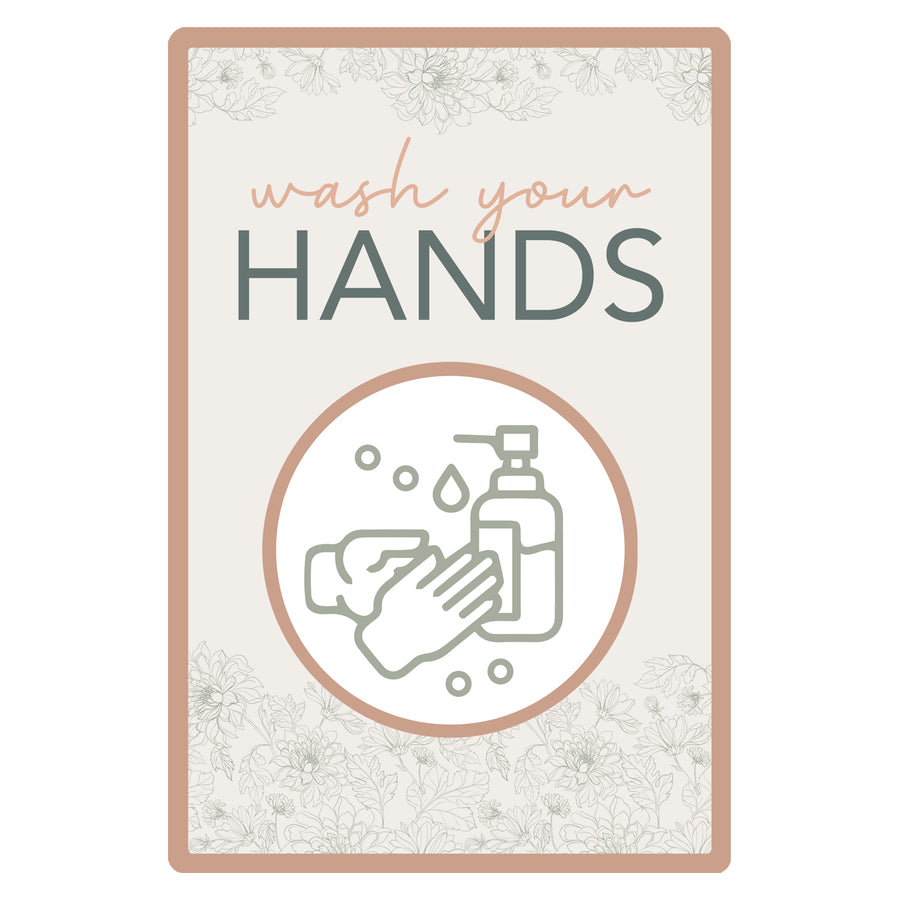 Affiche Murale Autocollante - Lavez vos mains (Visuel Floral)|| Self Adhesive Wall Poster - Wash your hands (Floral Visual)