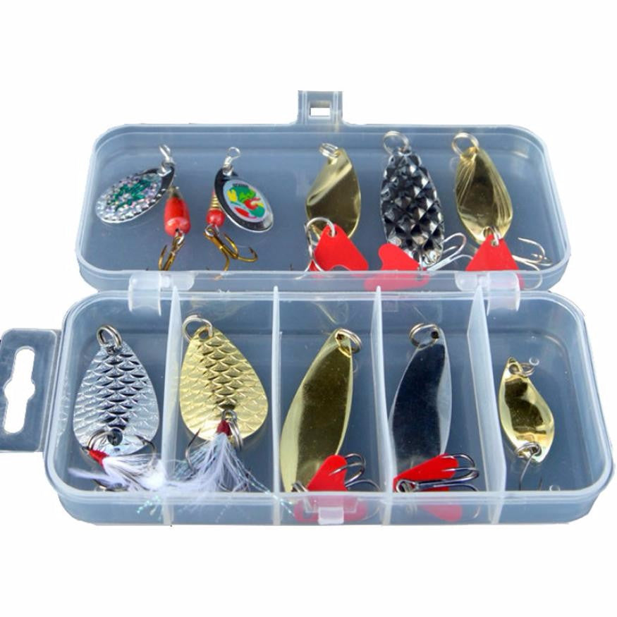 Top Metal Spoon Lure 10pcs Fishing Lures Bass Spoon Crank Bait Saltwater Tackle Hooks for Fishing bait #EW