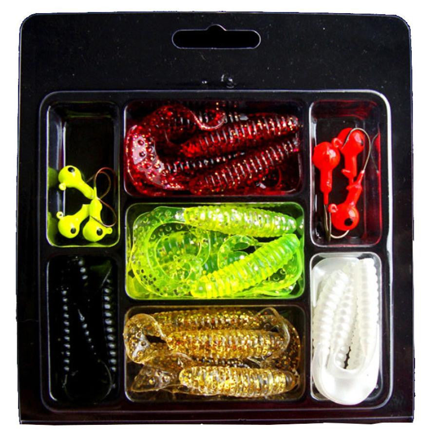 MUQGEW 13 * 15 * 1.2cm 94g Lures 30Pcs Soft Worm Lure Set Head Jig Hooks Fishing Baits Set Tackle #E5