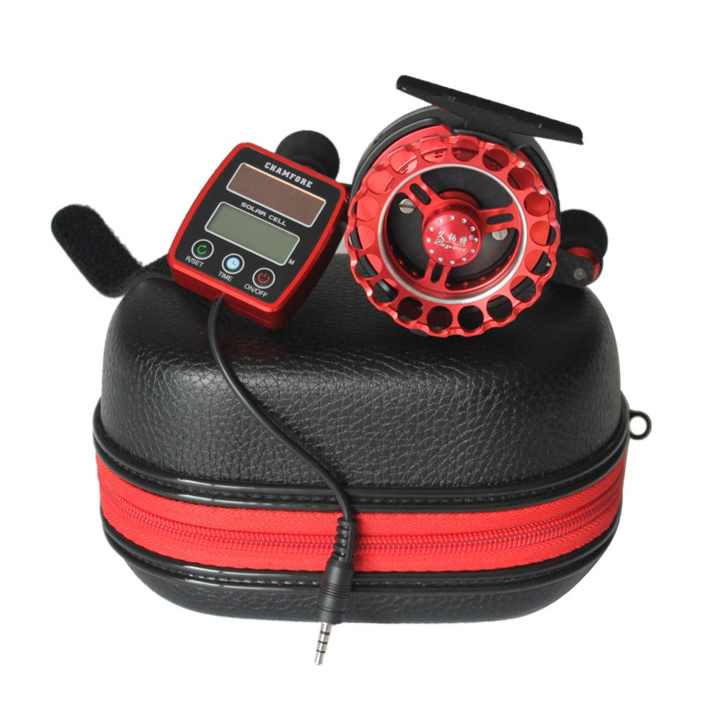 1PCS Fishing Reels Solar Power Counting Fish Line Wheel Bearing 6+1 Speed Ratio 3.6:1 Digital LCD Display Round Fish Boat