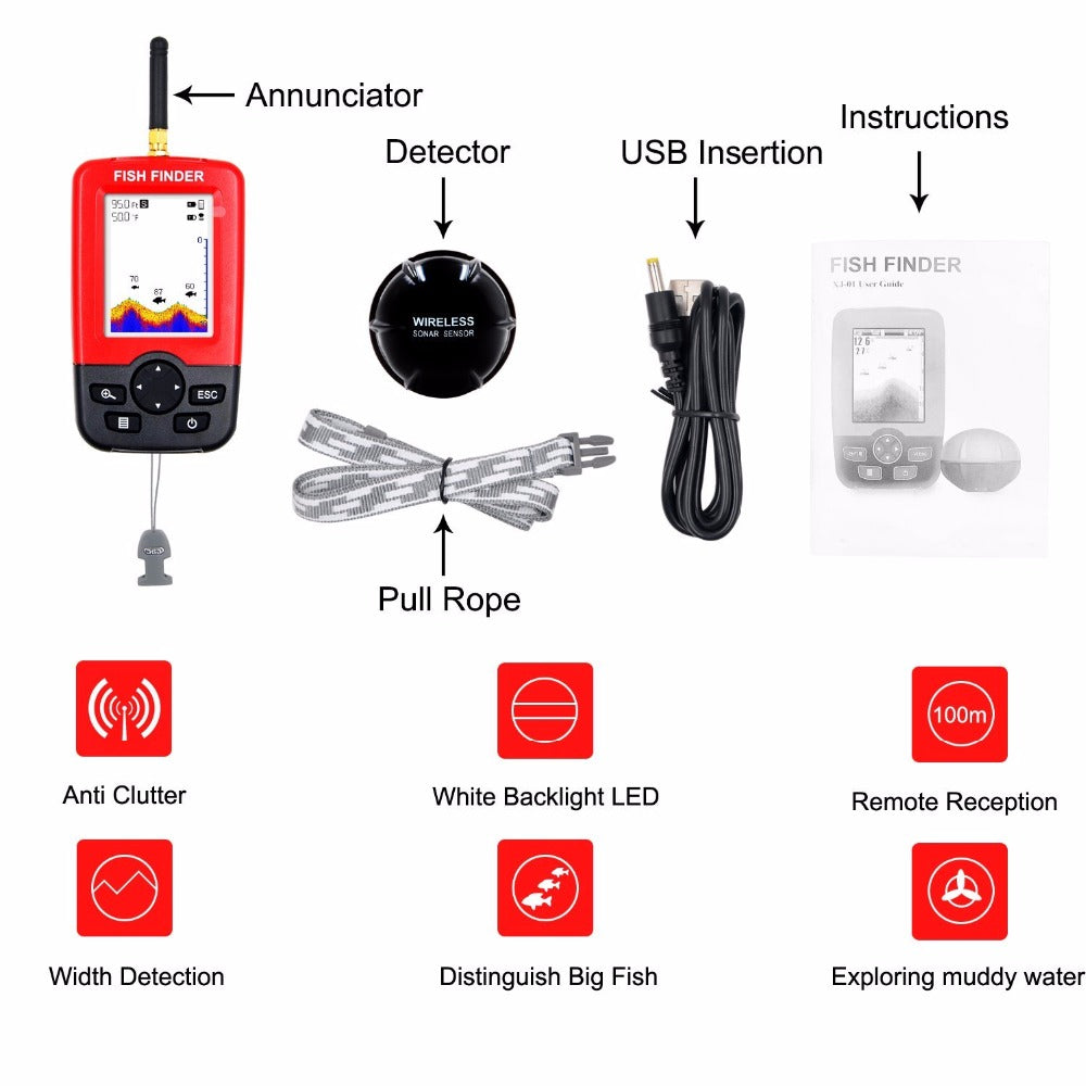 100M Portable Sonar LCD Wireless Fish Finder