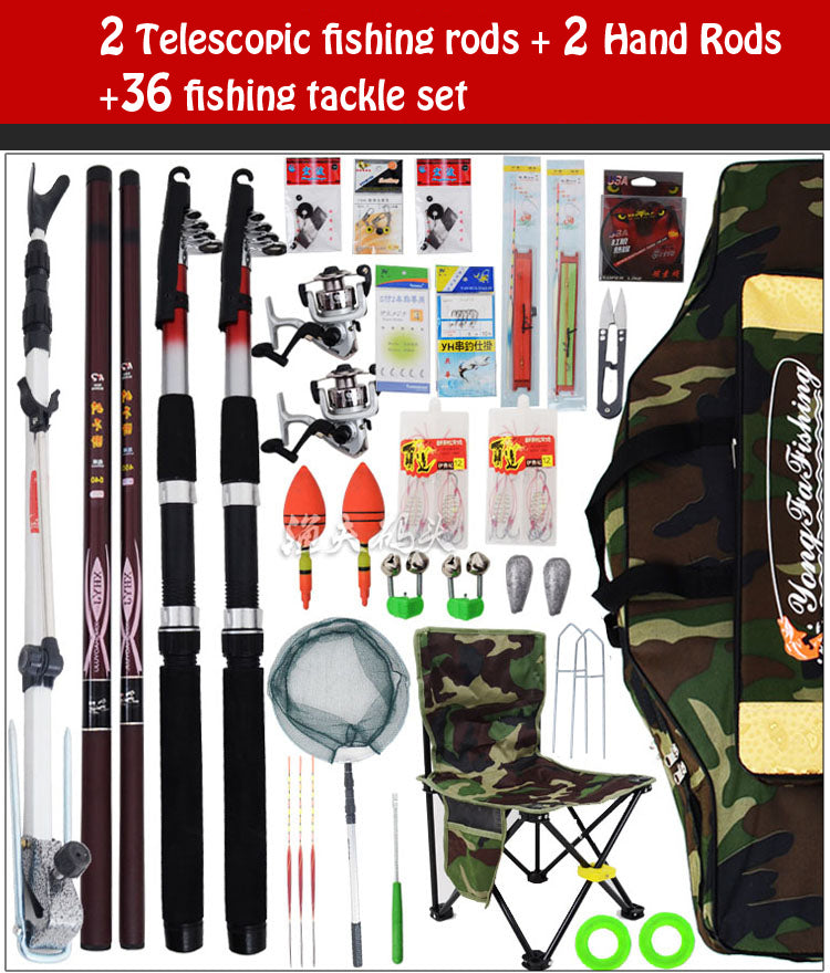 Fishing tackle set fishing rod pole 2.1 4.5 hand pole sun protection umbrella handsomeness sea rods fishing tackle combination
