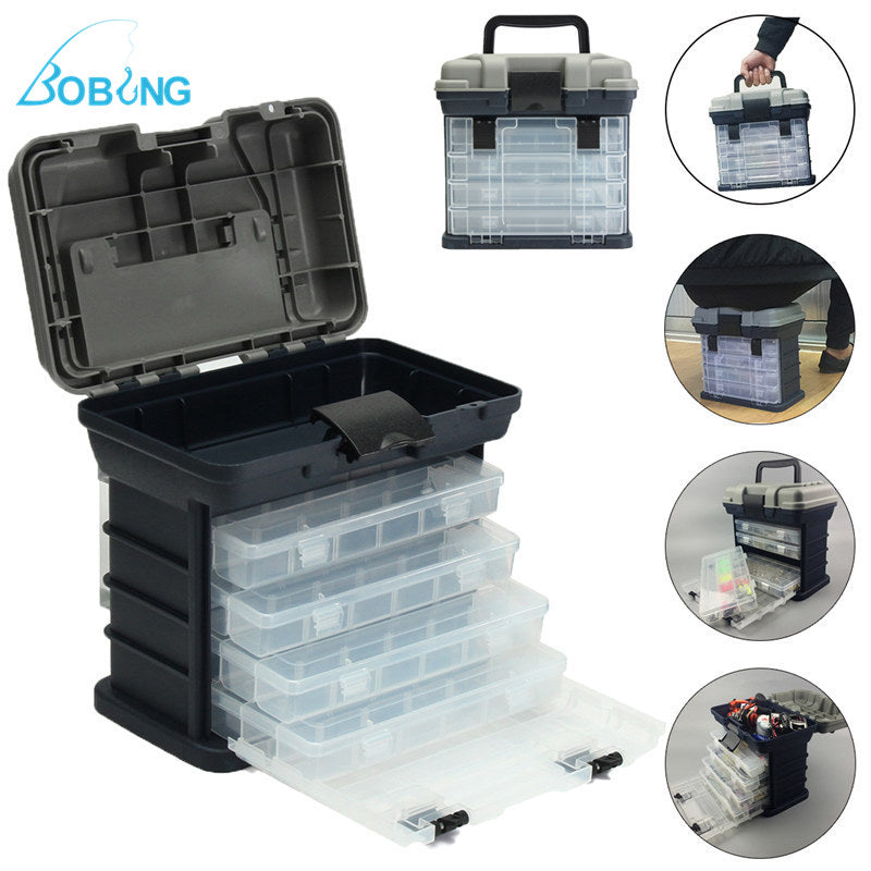 4- layer Fishing Tackle Box Lures Storage Tray Bait Case Tool Organizer Bulk Drawer Fishing Tackle Tool Storage Box Case Handle