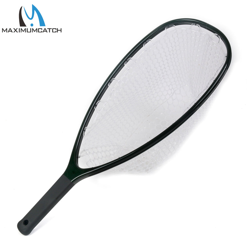 Maximumcatch Fly Fishing Landing Net Clear Rubber Net Carbon Frame Nomad Hand Strong & Light