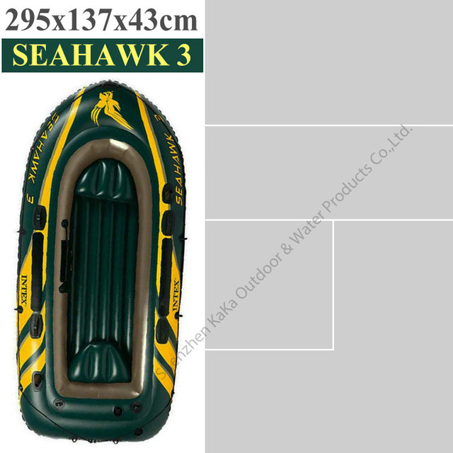 Intex seahawk 3 person pvc inflatable fishing boat 295*137*43cm boat Aluminium paddle hand pump boston valve rod holder A06006