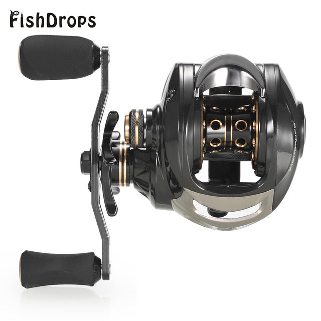 Fishdrops XLSDLCT 7.2:1 Carbon Fiber Fishing Baitcasting Reel 17+1 Ball Bearing Carp Hand WheelFishing Left / Right Hand Bait