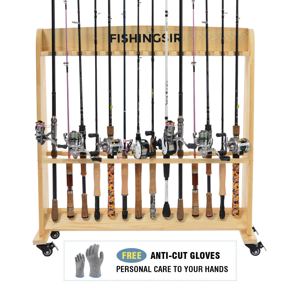 FISHINGSIR Fishing Rod Rack - 28 Wood Rod Holder with Wheels Fishing Pole Stand Rod Storage Organizer for All Fishing Rods Combo