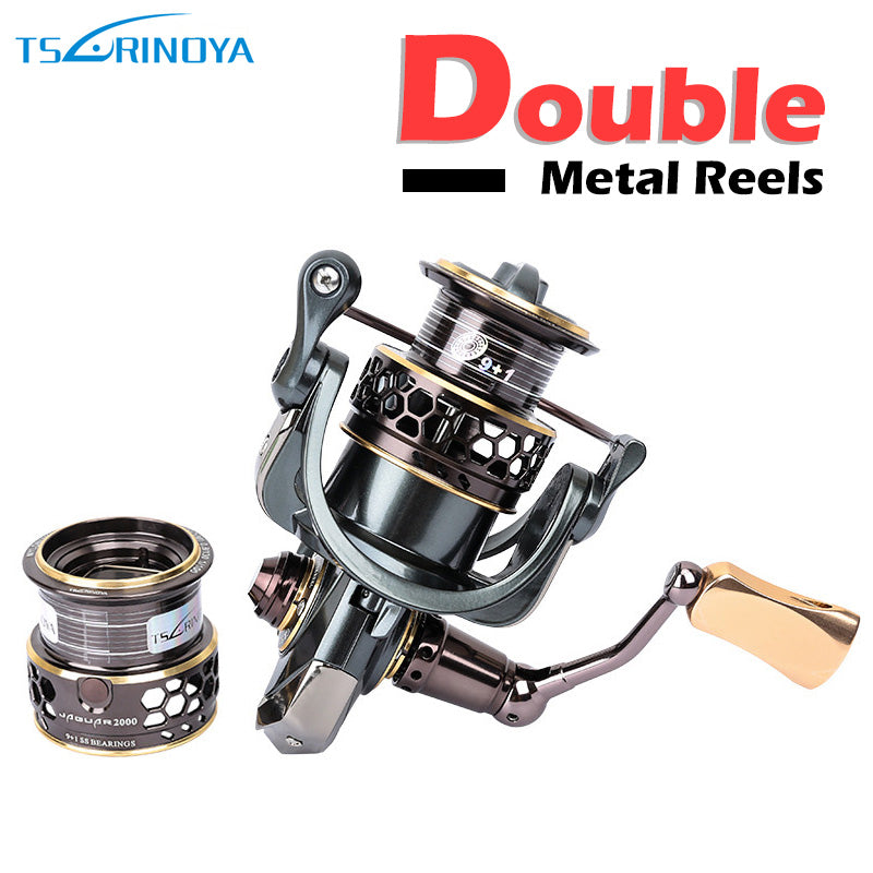 Spinning Fishing Reel 9+1BB Gear Ratio 5.2:1 Double Metal Spool Lure Reel Carretes De Pescar Reels TSURINOYA Jaguar 2000 3000