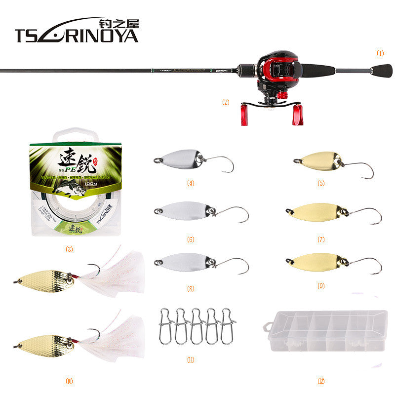 TSURINOYA Casting Fishing Combo XF-50 Baitcasting Reel 1.89m UL Baitcasting Rod+100m PE Line+Spoon Bait Box Pesca Fishing Tackle