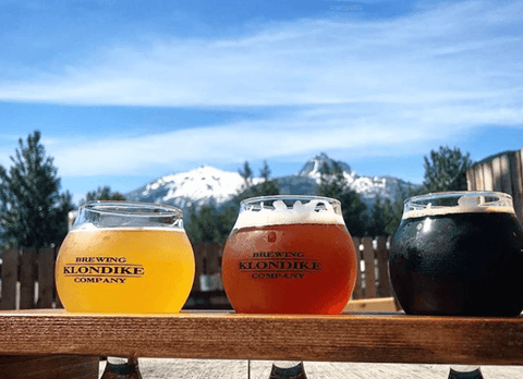 Klondike Brewing Company flight of beer in Skagway, Alaska