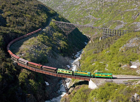 The White Pass & Yukon Route railroad in Skagway, Alaska is one of the last narrow gauge railroads in the world