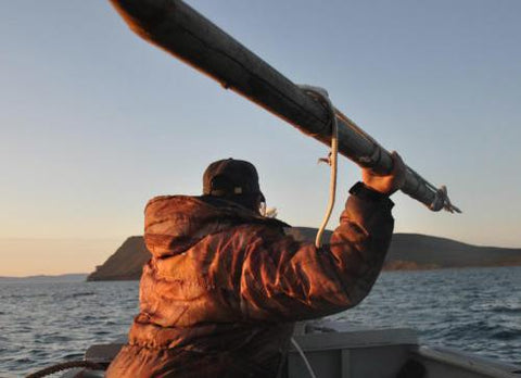 Inupiat harpoon thrower during a bowhead whale hunt
