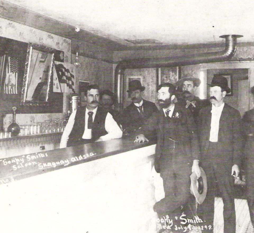 Historical photo of Soapy Smith in Jeff Smith's Parlour, Skagway