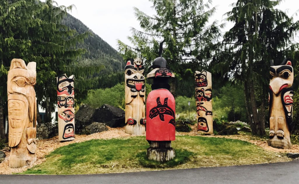 Totem Poles outside Cape Fox Lodge in Ketchikan, Alaska