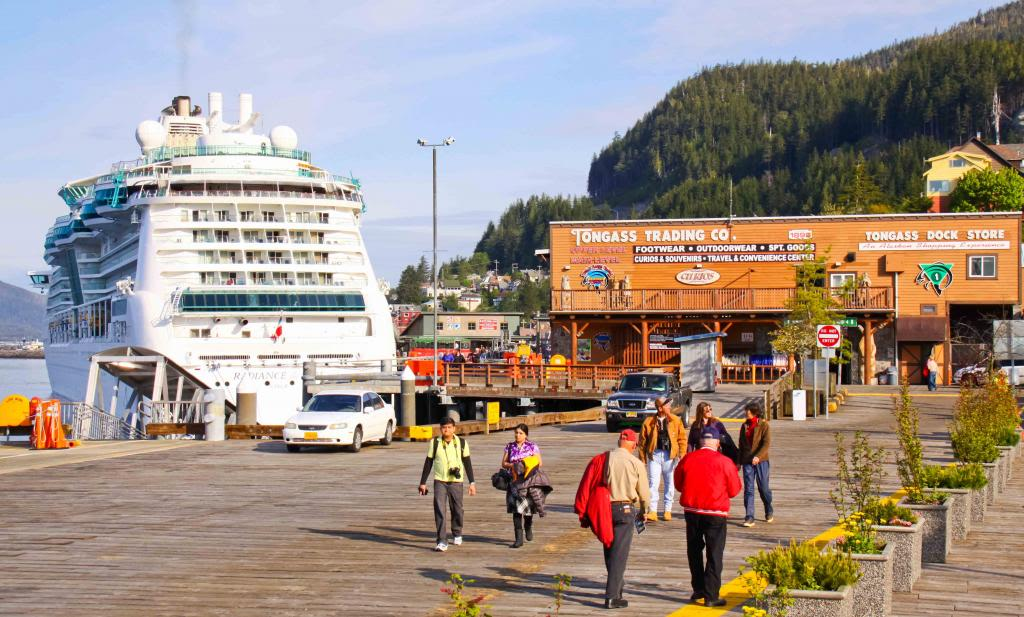 A cruise ship docked near Tongass Trading Co., Ketchikan, Alaska