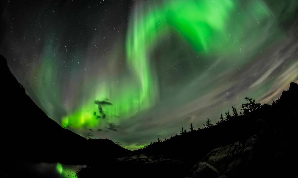 Northern lights at Yakutania Point in Skagway, Alaska